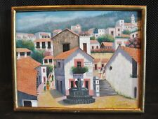 "Colorful Painting of Village in Mexico Latin America ""David Diaz"" 1983"