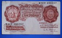 "1955 British Bank of England 10 shilling Banknote O'Brien Prefix ""H92Y"" [21337]"