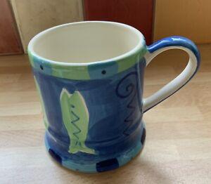 "Whittard Handpainted Striped Tankard Style Mug 3"" Diameter x 3 1/2"" Tall"
