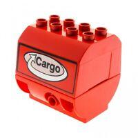 1 x Lego Duplo Aufsatz rot Container Oberteil bedruckt Cargo Logo Eisenbahn Zug