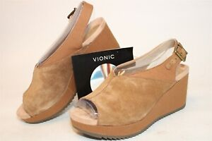 Vionic Womens NEW 8 Wide 39 Trixie Suede Buckle Wedge Slingback Shoes 10010569