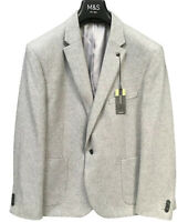 M&S COLLECTION Slim Fit Wool Blend Jacket Light Grey Size 48 Short NEW RRP £79