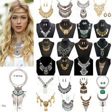 Womens Metal Crystal Necklace Bib Choker Chunky Statement Pendant Chain Jewelry
