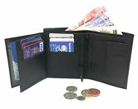 MENS SOFT BLACK REAL LEATHER BIFOLD WALLET CREDIT CARD HOLDER PURSE XMAS GIFT