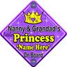 NEW ~ SWIRL ~ NANNY & GRANDAD'S PRINCESS ~ Personalised Baby on Board Car Sign