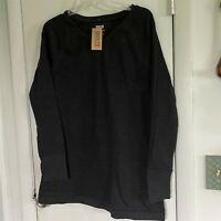 DULUTH TRADING WOMAN'S OOH-LOOP FRENCH TERRY V-NECK TUNIC M GRAY