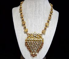 India Kundan Bridal Beaded Necklace Gold Plated Crystal Glass Stones 1117