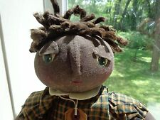 Primitive Grungy Black Shelf Sitter Doll~Painted Eyes~Afro Hair~Country Folk Art