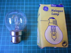 8  CLEAR GOLF BALL HALOGEN 12 VOLT 5w BC22 mm  LIGHT BULBS by GE. vintage style