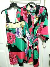 N Natori Beijing Flower Chemise Gown and Robe Wrap L Large Sleepwear NWT