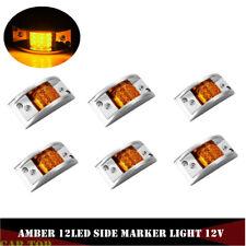 "6X 4.8"" Amber 12LED Truck Trailer Side Marker Clearance Light Sealed Chrome Base"