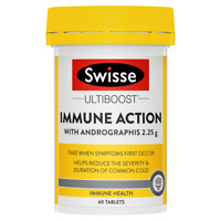 Swisse Ultiboost Immune Action 60 Tablets with Andrographis Echinacea Sambucus