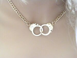 Handcuff Pendant Women Necklace Gold Tone
