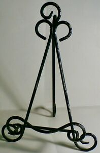 """VINTAGE 12"""" ORNATE WIRE METAL PICTURE EASEL BOOK OR PLATE STAND"""