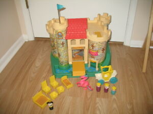Vintage Fisher Price Play Family Castle Little People Pink Dragon Plus