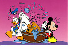 Mickey Mouse-Donald Duck Give Pluto Dog a Bath-Wash Tub-Disney Art Postcard