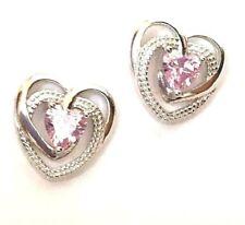 Pink Cz Earrings Sterling Silver Precious Heart