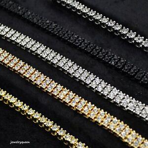 Solitaire Lab Diamond Gold Silver 1 Row Men Hip Hop Tennis Necklace Choker Chain