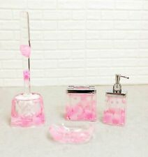 Pink Floral Petals and Pearls 5 Piece Chic Bathroom Vanity Accessories Gift Set