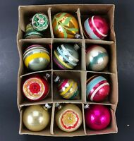 VTG Shiny Brite Indent Ball Ornaments &Box Christmas Tree Mix Lot Striped