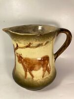 Vtg Antique Large Pitcher Green Glazed Yellow Ware Stoneware w/ Bulls Bull Cows