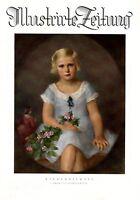 Kinderbildnis XL Kunstdruck 1927 von Heinrich Boese Mädchen blond blaues Kleid +