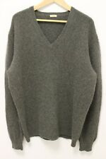 MALO Italy Men's Heavy Knit 100% Cashmere V-Neck Sweater - Green - Sz 54 XL