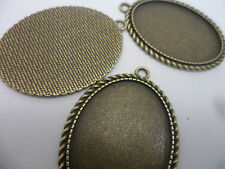 5 LARGE Oval Antique Bronze Pendant Bezels,settings.51x37mm,tray 40x30mm.Craft