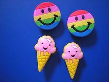 JIBBITZ CROC CLOG SHOE PLUG CHARM 4 NEW SMILE FACE ICE CREAM FIT KID WRISTBANDS
