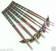 WHOLESALE 5 PAIRS CHINESE TRADITIONAL FINE WOOD CHOPSTICKS WITH MATCHING ETAGERE