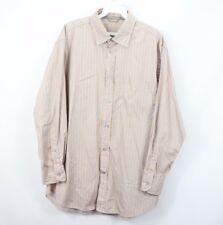 Ermenegildo Zegna Sport Mens Large Long Sleeve Silk Cotton Striped Dress Shirt