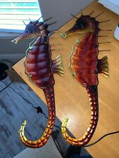 Tin Metal Glass Sea Horses 20 X 7 Very Cute