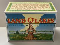 Vintage Land O'Lakes Butter Recipe Box Tin - Retired Native American Maiden
