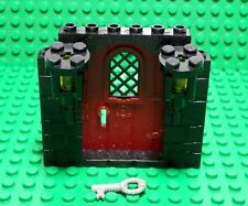 LEGOS  NEW Dark Red Door with Key on Black Stone Pattern Frame with 2 Torches