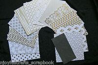 "SILVER & WHITE Card Kit 12Designs 9Shiney 3Matt 6""x6"" Single Sided+Glitter6""x3"""