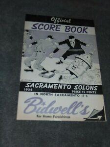 ORIGINAL PCL BASEBALL 1956 SACRAMENTO SOLONS VS. SAN FRANCISCO SEALS SCORE BOOK
