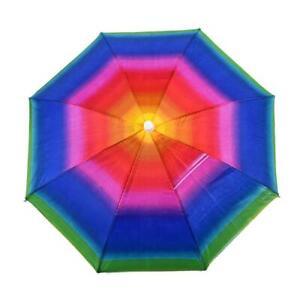 1pcs New Umbrella Hat Novelty Foldable Sun Day Rainy Day Hands Free Rainbow Fold