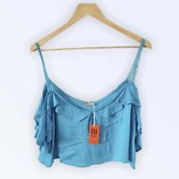 River Island Resort New £20 Cami Top M Cold Shoulder Crop Blue Embroidery