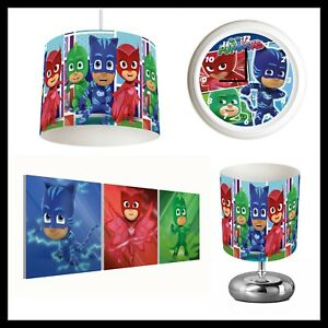 PJ MASKS - Unisex Bedroom in a Box - Lightshade, Lamp, Clock, Canvas Prints