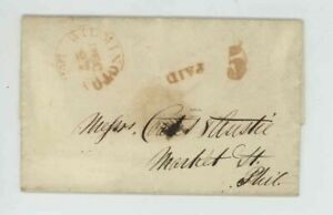 Mr Fancy Cancel Stampless Red Wilmington Del Phil Paid 5 1845 FLS #548