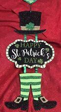 Happy St Patrick's Day Leprechaun Decor Hanging Sign Wall