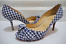 CHRISTIAN LOUBOUTIN $825 Greissimo blue white gingham check heels 38 WORN ONCE