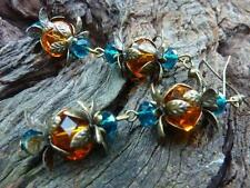 Women's Vintage Style Amber Bud Dangle Earrings Handmade Custom Jewellery