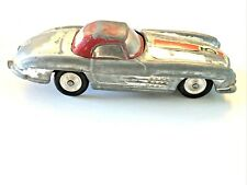 1961 Corgi Mercedes Benz 300SL Roadster # 304S. Silver, red trim & roof diecast