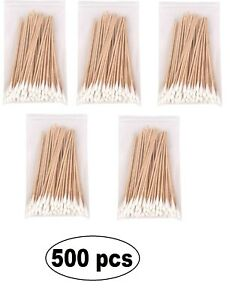 """6"""" Swabs Cotton Tipped Stick Applicator Single Tip (Wooden Handle) 500 pieces"""