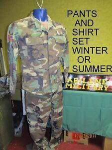 MILITARY WOODLAND BDU COMBAT UNIFORM PANTS & SHIRT SET RIPSTOP WINTER  ARMY
