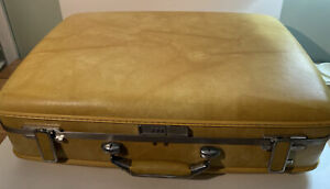 VINTAGE AMERICAN TOURISTER LUGGAGE HARDCASE SUITCASE YELLOW GOLD MARBLE 24 X 17