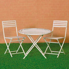 Dolls House Miniature 1:12th Scale White Table & Two Chairs