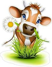 Dairy Cow in the Grass Funny Car RV Bumper Sticker 100mm high Ipad Tablet Laptop