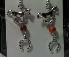 Horseshoe Cowboy Earrings - Fashion Jewelry Silver Tone & Orange Bead Horse &